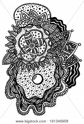 Floral zentangle sketch with pearl in shell. Hand drawn vector art for coloring book. Graphic element in oriental style.