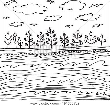 Summer sea and sky with clouds and birds. Vector hand drawn simple line art for coloring page or book for adults and children. Doodle sketch illustration.