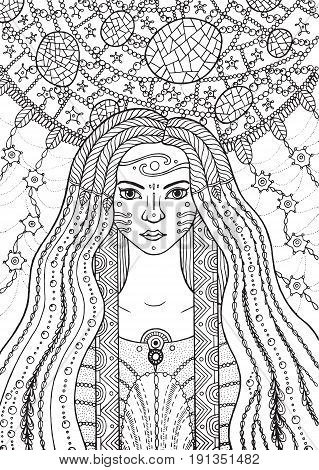 Shaman boho girl with floral and waterdrop hair on plant background. Vector hand drawn coloring page with witch and dreamcatcher for adult and kids coloring book with fairy tales.