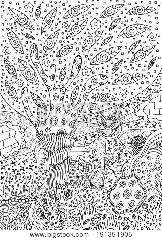 Coloring page with surreal landscape - tree flower and sky. Vector zentangle illustration for adults or kids. Zendoodle vector art. Doodle cartoon fairy tales graphic art.