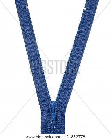 Unbuttoned blue zipper isolated on white background.