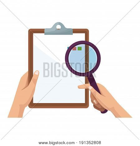 hand holding clipboard and magnifier ckecklist vector illustration