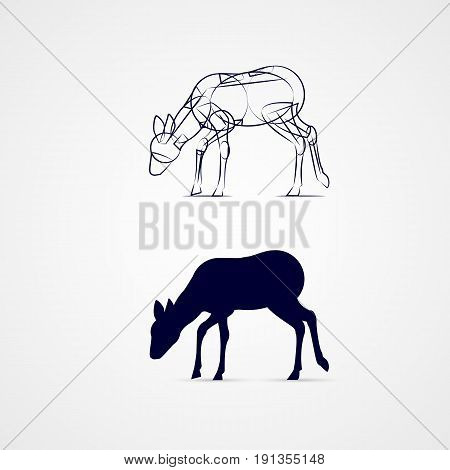 Grazing Female Deer Silhouette with Sketch Template on Gray Background