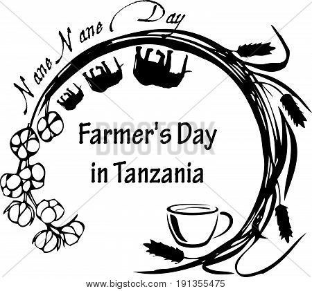 Stamp symbol for the national holiday in Tanzania. Tanzania annually celebrates Farmer's Day on August 8. The local name of this holiday is Nane Nane that in Swahili the national language in Tanzania means