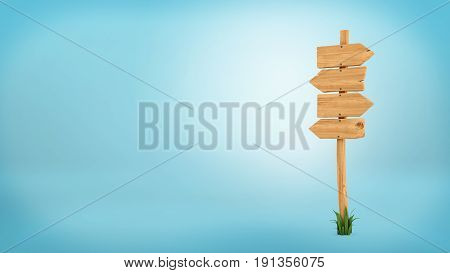3d rendering of a wooden pole with some grass on it's base and four blank arrows on the top. Directional signs. Outdoor advertisement. Signposts and arrows.