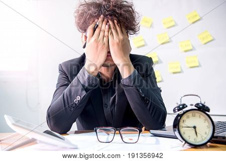 busy and headache person unsuccessful and businessman
