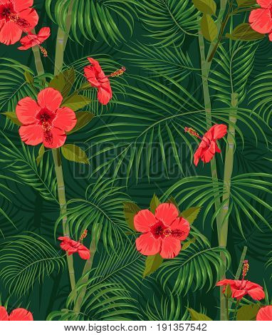 Seamless hand drawn tropical pattern with palm leaves jungle exotic flower on dark background. Fashion textile print summer floral wallpaper. Vector illustration botanical drawing