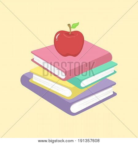 Stack of Book and Apple School Supplies Vector Illustration isolated on cream background.