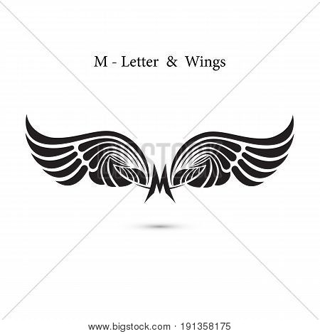M-letter sign and angel wings.Monogram wing logo mockup.Classic emblem.Elegant dynamic alphabet letters with wings.Creative design element.Corporate branding identity.Flat web design wings icon.Vector illustration.