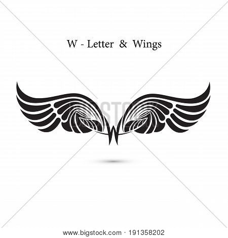 W-letter sign and angel wings.Monogram wing logo mockup.Classic emblem.Elegant dynamic alphabet letters with wings.Creative design element.Corporate branding identity.Flat web design wings icon.Vector illustration.