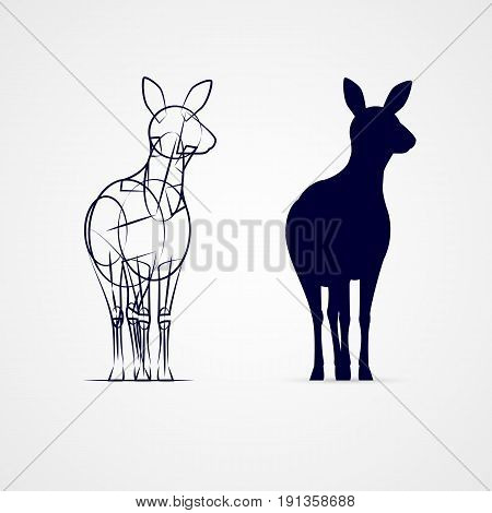 Young Deer Silhouette Standing with Sketch Template on Gray Background