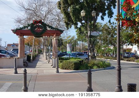 CAMARILLO CA USA - DECEMBER 19 2013: Christmas decoration in Old Town of distinctive Southern California city of Camarillo Ventura County