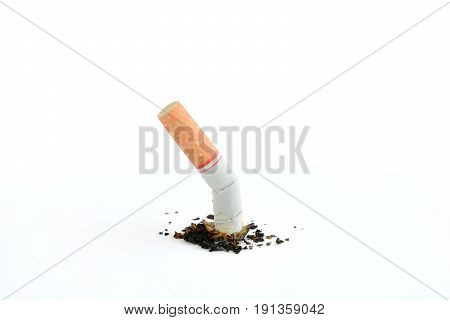 Cigarette butt isolated on white background World No Tobacco Day concept