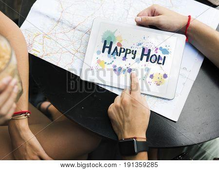 Happy Holi Colorful Blots Word