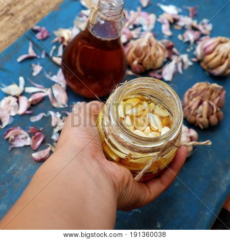 Healthy Food, Garlic In Bee Honey