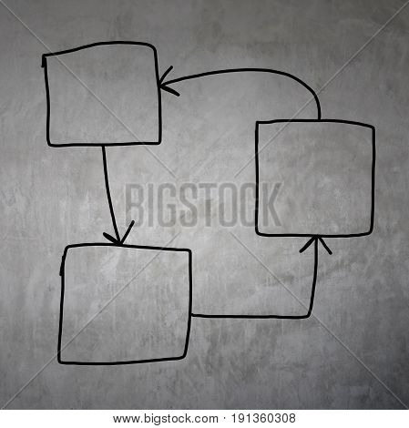 drawing graphics a symbols geometric shapes graph to input information concept on gray wall background.