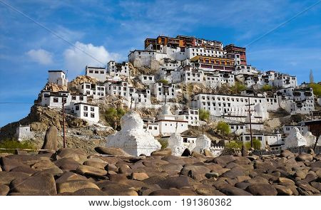 Thiksey Monastery or Thiksey Gompa in Leh Jammu and Kashmir India