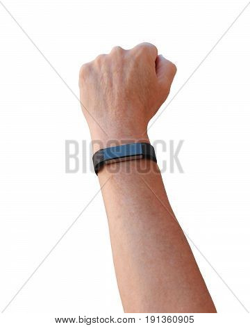 woman's arm vertical with an exercising tracker device on her wrist on a white background
