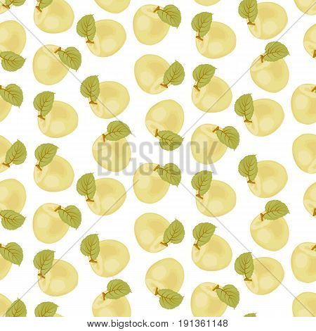 A ripe Apple. Seamless fabric. green leaf. Yellow liquid Apple. Stock vector