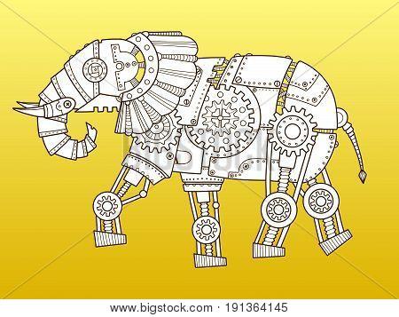 Elephant robot. Steam punk style. Color fashion vector illustration
