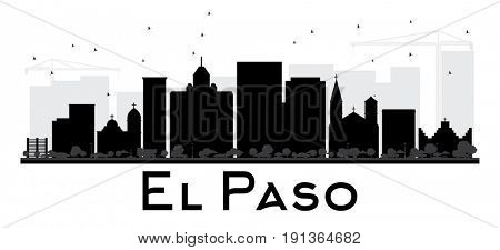 El Paso City skyline black and white silhouette. Simple flat concept for tourism presentation, banner, placard or web site. Cityscape with landmarks.