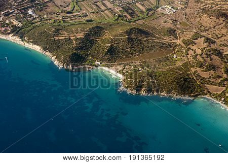 Aereal view of nature and sea in Calamosca Hill in Cagliari Sardegna Italy