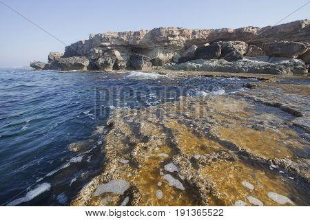 Rocks Of Cavo Greco Cape. Cyprus. Mediterranean Sea Landscape