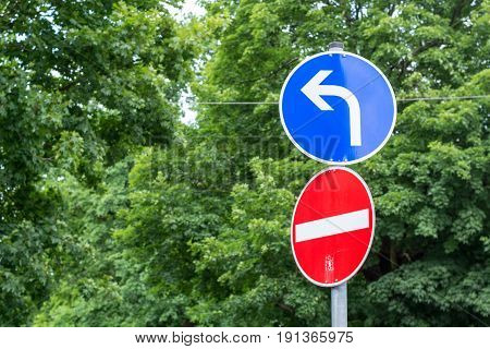 Street Sign Showing Wrong Direction And Having To Turn Left