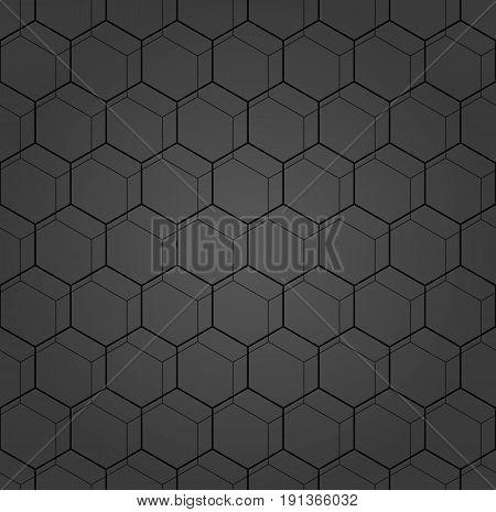 Geometric fine abstract hexagonal dark background. Geometric modern ornament. Seamless modern pattern