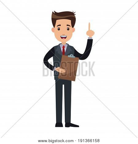 man business cartoon holding clipboard finger pointing vector illustration
