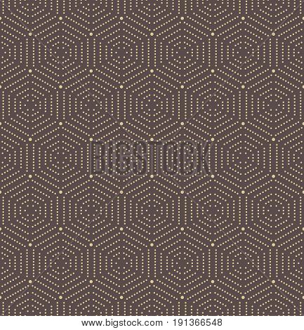 Geometric repeating ornament with octagonal dotted golden elements. Geometric abstract ornament. Seamless abstract modern pattern