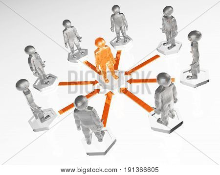 Orange and grey men with arrows on white background 3D illustration.