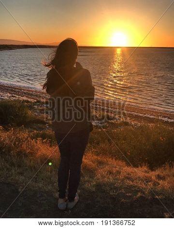Enjoying a beautiful California sunset at Alviso Marina County Park.