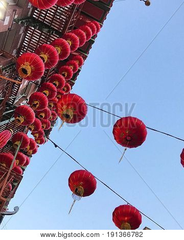 Chinese red lanterns in San Francisco's Chinatown district. Photo taken June, 2017.