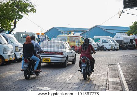 Male Maldives - June 8 2017: Street view of Male the capital of Maldives. on June 8 2017 in Male Maldives