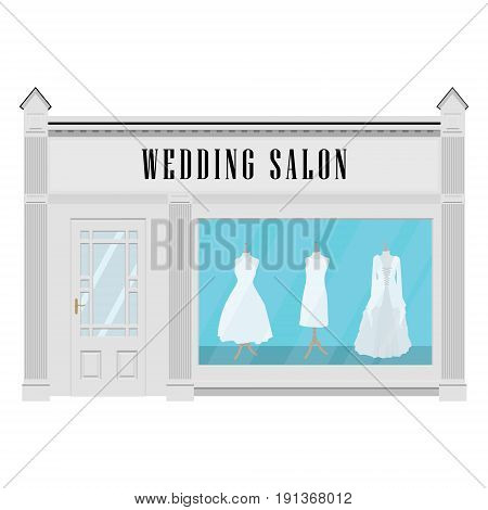 Vector illustration beautiful clothing in bridal wedding salon. Wedding dresses. Bridal salon building facade icon.