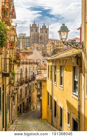 View at the Cathedral of Porto from street - Portugal