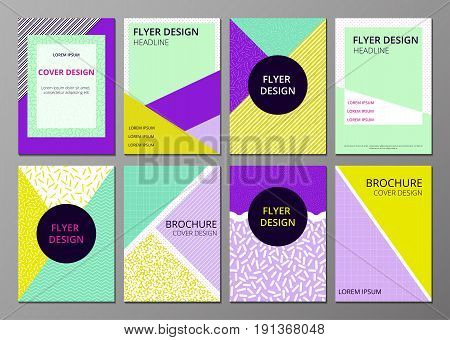Set of trendy geometric covers design in trendy 80s and 90s Memphis style.  Design layout for flyer, poster, brochure.