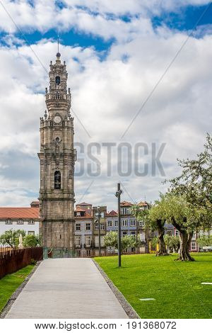 Bell tower Clerigos in the streets of Porto in Portugal