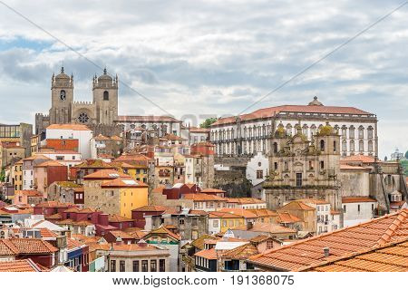 View at the roofs of historical part of Porto in Portugal