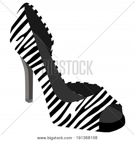 Vector illustration high heel shoe with animal zebra stripes pattern. Ladies shoes zebra skin print on a white background