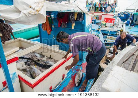 Male, Maldives - June 8, 2017: Area Of Fresh Fish Market On June 8, 2017 In Male, Maldives