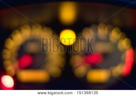Blurred of Car instrument panel that mean the car speedometer Car Dashboard with Light.