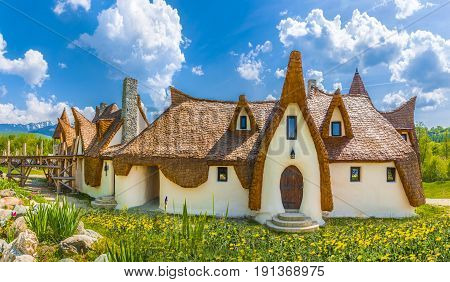 Fairytale clay castle of Porumbacu village in Sibiu Region Romania