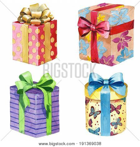 Watercolor birthday gift box illustration. Wrapped gift boxes with a ribbon. Birthday party design elements set isolated on white background. Colorful festive clip art.