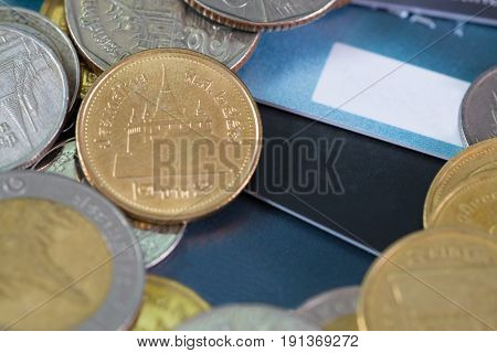 Credit Card, Coins And Money On The Table. Shallow Focus, Soft Tone.