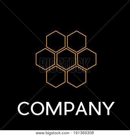 Vector sign abstract beehive in linear style on black background