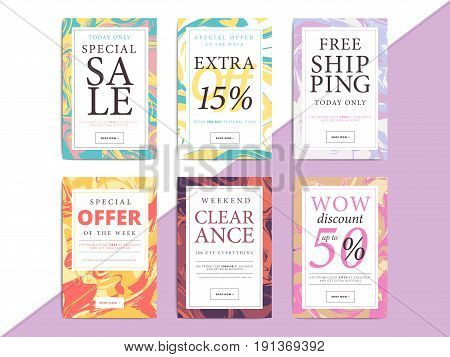 Set of creative social media banners design for online shop or store. Trendy vector ad sale or clearance bright abstract backgrounds. Advertising web layouts.