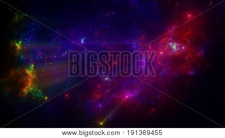 The bright star cluster in outer space galaxy. Nebula galaxy in space.