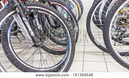 Eskisehir, Turkey - June 05, 2017: Closeup Of Bicycle Wheels Focused On Tire In Carrefour Supermarke